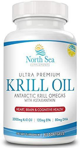 Ultra Premium Antarctic Krill Oil Fish Oil – Molecularly Distilled With Krill Oil, EPA, DHA, Astaxanthin To Support Heart, Brain, and Immune Health – 60 Softgel