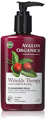 Avalon Organics Cleansing Milk, Wrinkle Therapy with CoQ10 & Rosehip, 8.5 Oz