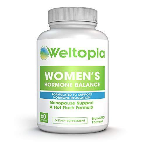 Weltopia - Women's Menopausal Support - Transitional Hormone Support During Menopause & Hot Flash Relief - Women's Natural Help for PMS, Adrenal & Hormone Balance - One Month Supply