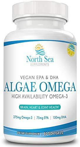 Vegan Algae Omega 3 Oil – Natural Vegan Omega, Molecularly Distilled - Omega 3 & 6, EPA, DHA, Algal Oil To Support Heart, Brain, and Immune Health - 60 Softgels - Vitamins Emporium