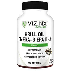 VIZINX Krill Oil Omega-3 EPA DHA 60 Softgels, 1000mg Daily with EPA/DHA & Astaxanthin. Supports Brain, Joint & Heart Health. Naturally-Occurring Essential Fatty acids Including Omega-6 and Omega-9