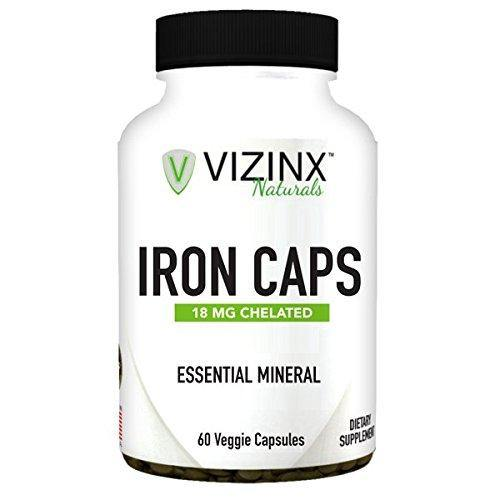 VIZINX IRON CAPS 18 mg 60 Veggie Caps- Choice form of organic chelated iron (Ferrous Fumarate) tends to cause fewer symptoms of intestinal upset and is considered to be a non constipating form of iron
