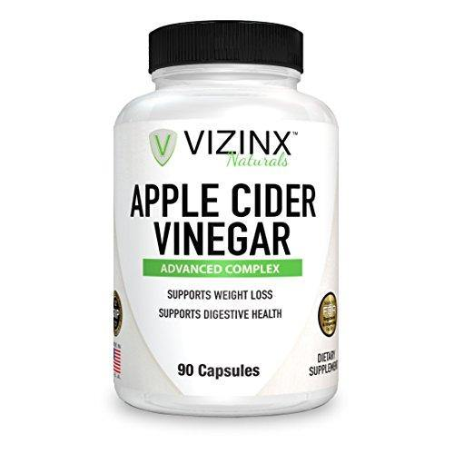 VIZINX Apple Cider Vinegar Plus - 90 Caps Includes A Complex of Other Key Nutrients Iodine from Kelp Lecithin Bromelain Spirulina Potassium & B-6