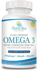 Ultra Premium Ultimate Omega 3 Fish Oil – Extra Strength, Molecularly Distilled, Burpless Omega 3, EPA, DHA To Support Heart, Brain, and Immune Health