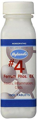 Hyland's Homeopathic Number 4 Ferrum Phosphoricum 6X Tablets, 1000 Count - Vitamins Emporium