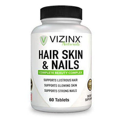 VIZINX Hair Skin & Nails 60 Tablets- This Beauty Complex Supports Lustrous Hair, Glowing Skin & Strong Nails. Includes 5000 mcg Biotin, Hydrolyzed Collagen, Silica, Hyaluronic Acid and More