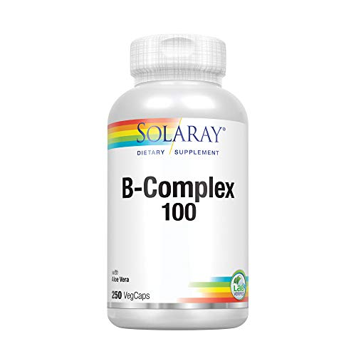 Solaray Vitamin B-Complex 100 | Supports Healthy Hair & Skin, Immune System Function, Blood Cell Formation & Energy Metabolism | 250 VegCaps