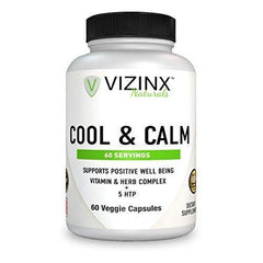 VIZINX Cool & Calm 60 Veggie Caps - Supports Positive Well Being Includes 5 HTP