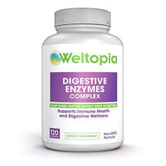 Weltopia - Digestive Enzymes Complex - Digest Enzyme Matrix with 18 Enzymes for Digestive Health, Bloating, Indigestion, Gas. Supports General Immunity and Digestive Wellness