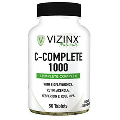 Vizinx C-Complete 1000 MG - Includes Quercetin, Rose Hips, Rutin, Acerola, Hesperidin with Citrus Bioflavonoids from Lemons, Oranges & Grapefruit, Protects Against Free Radical Damage, 50 Tablets