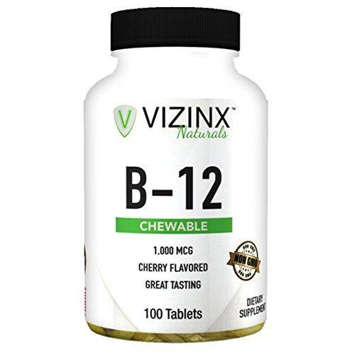 Vizinx B-12 1,000 MCG Cherry Flavored 100 Tablets, Provides Energy, Concentration, and Mental Clarity. Non GMO. - Vitamins Emporium