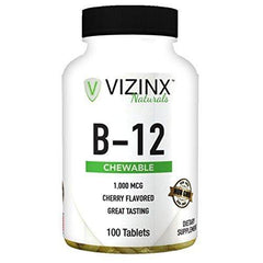Vizinx B-12 1,000 MCG Cherry Flavored 100 Tablets, Provides Energy, Concentration, and Mental Clarity. Non GMO.