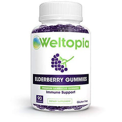 Weltopia - Elderberry Immune Gummies with Vitamin C, Propolis, Echinacea - Max Strength 200MG for Kids and Adults