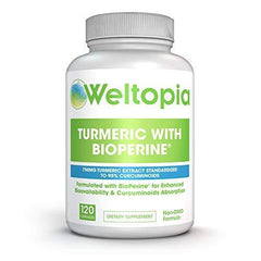 Weltopia - Turmeric Curcumin - with Bioperine (Black Pepper) - Advanced Strength - Supplement with 750 mg of 95% Curcuminoids Per Capsule - 120 Capsules