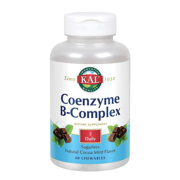 KAL Coenzyme B-Complex Tablets, Cocoa Mint, 60 Count - Vitamins Emporium