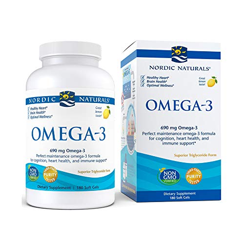 Nordic Naturals Omega-3, Lemon Flavor - 690 mg Omega-3-180 Soft Gels - Fish Oil - EPA & DHA - Immune Support, Brain & Heart Health, Optimal Wellness - Non-GMO - 90 Servings