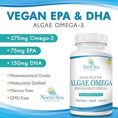 Vegan Algae Omega 3 Oil – Natural Vegan Omega, Molecularly Distilled - Omega 3 & 6, EPA, DHA, Algal Oil To Support Heart, Brain, and Immune Health - 60 Softgels