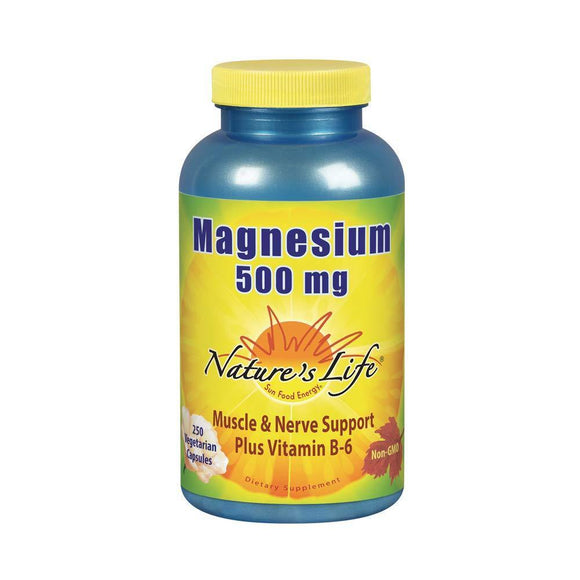 Nature's Life Magnesium Capsules, 500mg | High Potency Magnesium Supplement Plus Vitamin B-6 for Muscles & Nerves Support | 250 Count - Vitamins Emporium