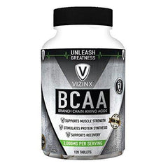 Vizinx BCAA 2:1:1 - HIGH Potency Branch Chain Amino Acid Tablets Support Muscle Strength, Recovery and stimulates Protein Synthesis, Non-GMO Formula, 120 Tablets,