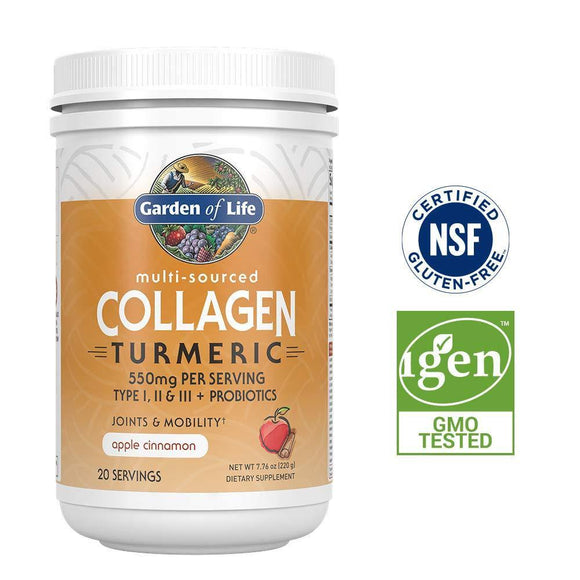 Garden of Life Multi-Sourced Collagen Turmeric for Joints & Mobility - Apple Cinnamon, 20 Servings - 10g Type I, II & III Peptides, 9g Collagen Protein, 60mg Turmeric Curcuminoids, Probiotics, Keto - Vitamins Emporium