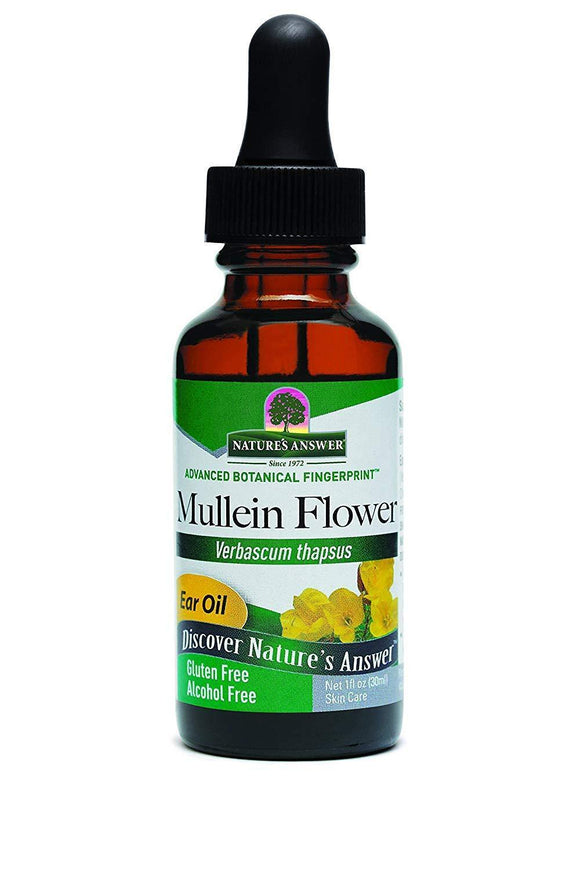 Nature's Answer Alcohol-Free Mullein Flower Ear Oil Topical Formula, 1-Fluid Ounce - Vitamins Emporium