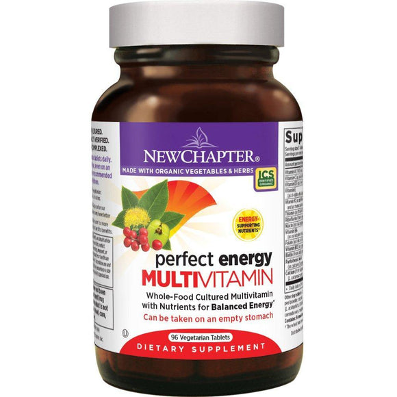 New Chapter Energy Supplement - Perfect Energy Multivitamin for Balanced Energy + Stress Support with B Vitamins + Vitamin D3 + Organic Non-GMO Ingredients - 96 ct - Vitamins Emporium