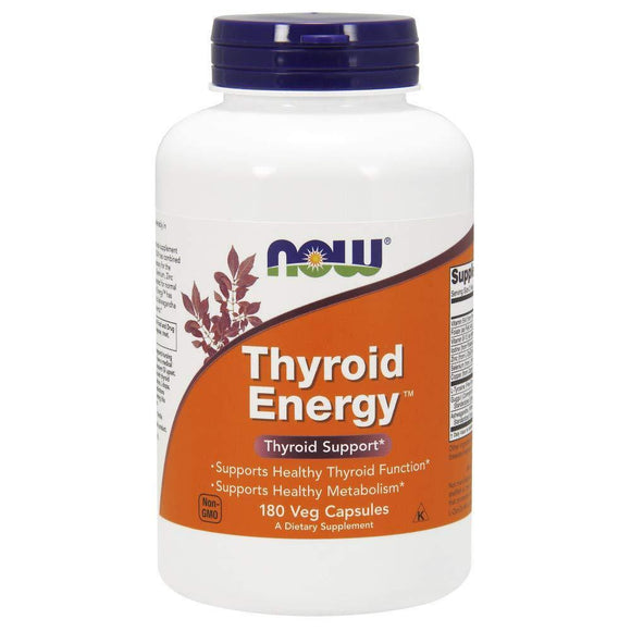 NOW Supplements, Thyroid Energy, Iodine and Tyrosine Plus Selenium, Zinc and Copper, 180 Veg Capsules - Vitamins Emporium