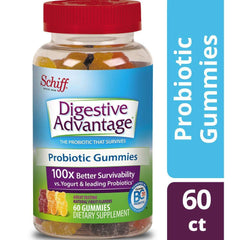 Probiotic Gummy for Adults, Digestive Advantage 60 Gummies, Gluten-Free, Survives 100x Better than regular 50 billion CFU, Assorted Fruit Flavors, Supports Digestive Health