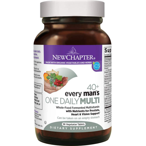 New Chapter Every Man's One Daily 40+, Men's Multivitamin Fermented with Probiotics + Saw Palmetto + B Vitamins + Vitamin D3 + Organic Non-GMO Ingredients - 96 ct (Packaging May Vary) - Vitamins Emporium
