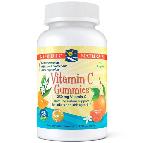 Nordic Naturals Vitamin C Gummies - Chewable Vitamin C Gummy Provides Immune System Support and Antioxidant Protection for Children and Adults*, Tangerine Flavor, 120 Count - Vitamins Emporium