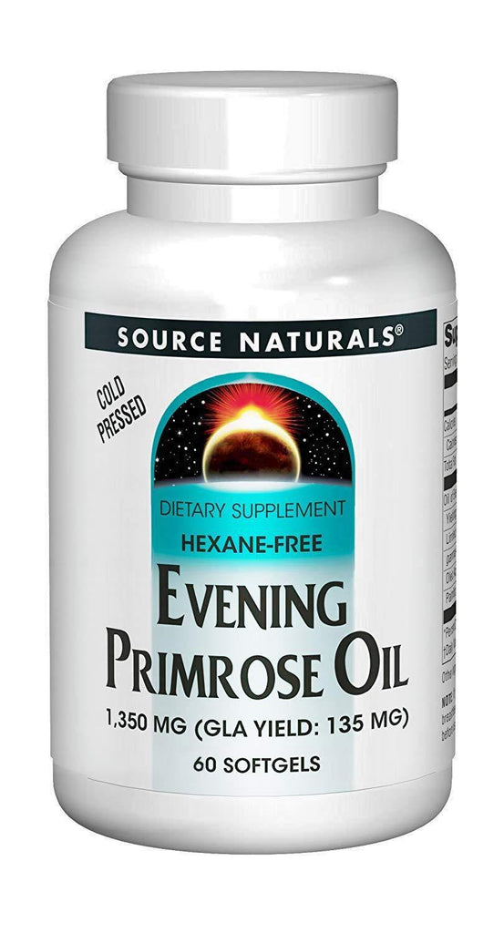 Source Naturals Evening Primrose Oil 1350mg (135mg GLA) Cold-Pressed, Hexane-Free Fatty-Acid Gamma-Linolenic & Linoleic Acid - 60 Softgels