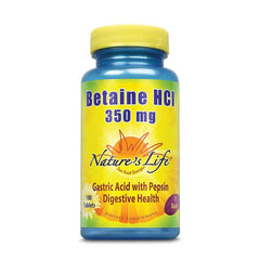 Nature's Life Betaine HCL Supplement 350 mg | Includes 150mg of Pepsin | Healthy Digestive Function Support | 100 Tablets
