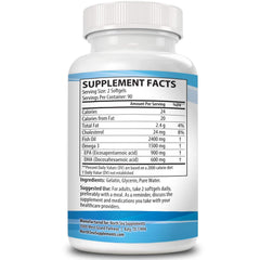 North Sea Supplements Triple Strength Omega 3-180 Count | Burpless, Non-GMO, NSF-Certified | Supports Heart, Brain, and Immune Health