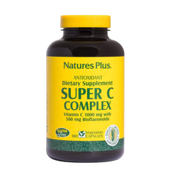 Natures Plus Super C Complex - 1000 mg Ascorbic Acid, 180 Vegetarian Capsules - High Potency Vitamin C Immune Support Supplement, Antioxidant - Gluten Free - 90 Servings