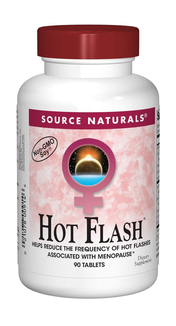 Source Naturals Hot Flash Premenopausal & Menopausal Symptom Support - Plant-Based, Herbal Relief with Black Cohosh, Soy, Don Quai & Chaste Tree - 90 Tablets - Vitamins Emporium