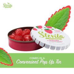 Stevita Stevia Sweet Candy Natural Strawberry Flavor- 1.4 Ounces - Sugar Free Hard Candy, Stevia Sweetened - USDA Organic, Non GMO, Keto, Paleo, Gluten-Free - 26 Servings