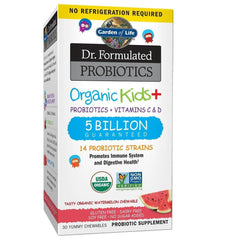 Garden of Life-Dr. Formulated Probiotics Organic Kids-Watermelon-Acidophilus and Probiotic Promotes Immune System,Digestive Health-Gluten,Dairy,Soy-Free,No Sugar Added-30 Chewables