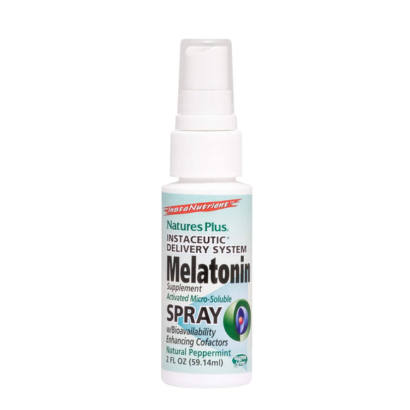 Natures Plus Melatonin Lipoceutical Spray - 1.5 mg, 2 fl oz - Natural Peppermint Flavor - Sleep Support Supplement with Vitamin B6 and Vitamin E - Vegetarian, Gluten Free - 80 Servings - Vitamins Emporium