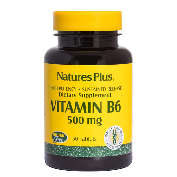 NaturesPlus Vitamin B6 (Pyridoxine HCI), Sustained Release - 500 mg, 60 Vegetarian Tablets - Energy & Metabolism Booster, Memory, Mood, Immune Support Supplement - Gluten-Free - 60 Servings - Vitamins Emporium