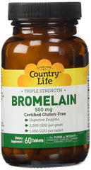 Country Life - Triple Strength Bromelain, 500 mg - 60 Tablets