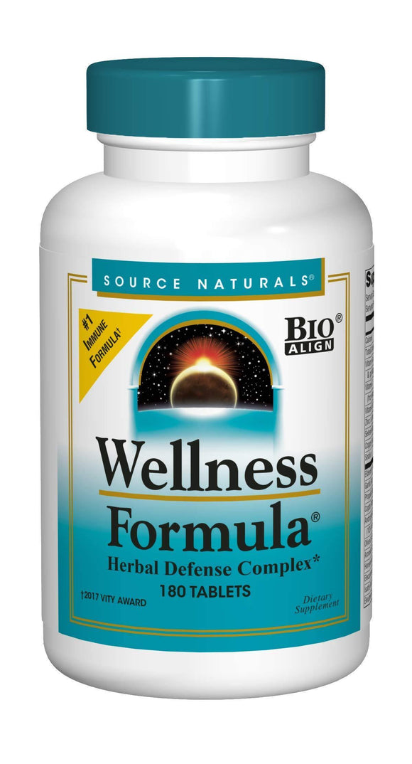 Source Naturals Wellness Formula Bio-Aligned, Echinacea Free Vitamins & Herbal Defense - Immune System Support Supplement & Immunity Booster - 180 Tablets - Vitamins Emporium