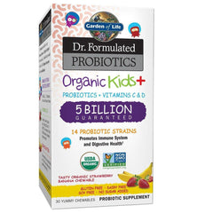 Garden of Life-Dr. Formulated Probiotics Organic Kids-Strawberry Banana-Acidophilus and Probiotic Promotes Immune System,Digestive Health-Gluten,Dairy,Soy-Free,No Sugar Added-30 Chewables-Shipped Cold