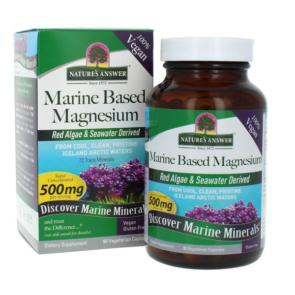 Nature's Answer Marine Based Magnesium 90 count Super Concentrated 500 mg per serving 72 Trace Minerals - Vitamins Emporium