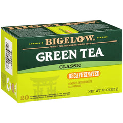 Bigelow Decaffeinated Green Tea 20 Bags (Pack of 6), 120 Tea Bags Total.  Decaffeinated Individual Green Tea Bags, for Hot Tea or Iced Tea, Drink Plain or Sweetened with Honey or Sugar