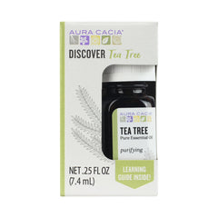 Aura Cacia Discover Essential Oil- Tea Tree | Clearing Benefit with Fresh, Leafy Aroma | 0.25 fl oz.