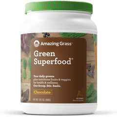 Amazing Grass Green Superfood Organic Powder with Wheat Grass and 7 Super Greens, Flavor: Chocolate, 100 Servings, 1 scoop = 2 servings of veggies