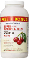 American Health Super Acerola Plus Chewable Wafers, 500 mg, Berry