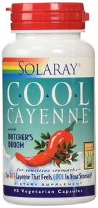 Solaray Cool Cayenne with Butcher's Broom 40000 HU Capsules, 90 Count - Vitamins Emporium