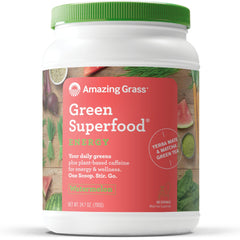 Amazing Grass Energy Green Superfood Organic Powder, Natural Caffeine with Wheat Grass, 7 Greens, Yerba Mate and Matcha Green Tea, Flavor: Watermelon, 100 Servings