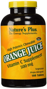 Nature's Plus - Orange Juice C 500mg, Vitamin C Supplement, Chewable Tabs (1-Pack of 180) - Vitamins Emporium
